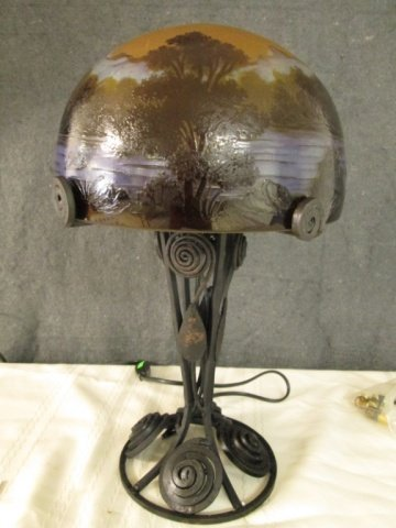 """AFTER GALLE FRENCH CAMEO GLASS 16.5"""" SIGNED LAMP"""