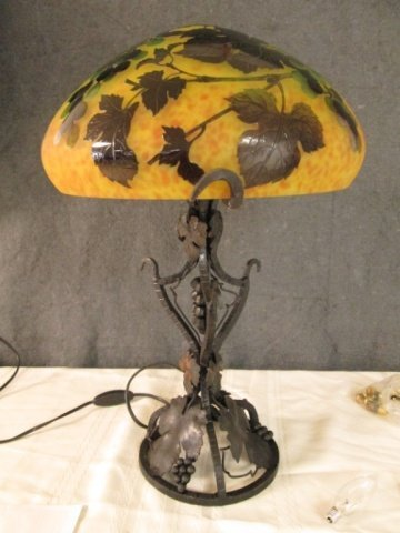 """AFTER GALLE FRENCH CAMEO GLASS 20"""" SIGNED LAMP"""