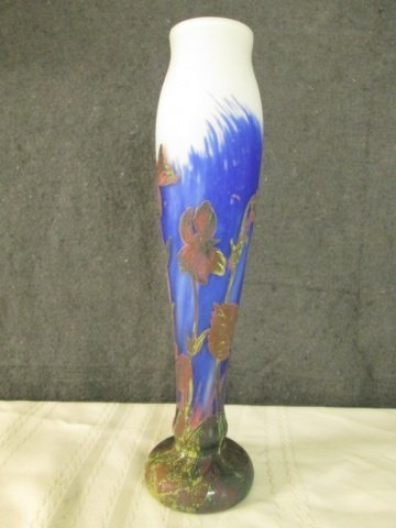 """AFTER GALLE FRENCH CAMEO GLASS SIGNED 14"""" VASE"""