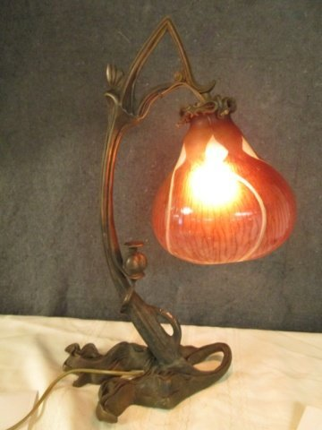 """AFTER GALLE FRENCH SIGNED CAMEO GLASS 20.25"""" LAMP"""