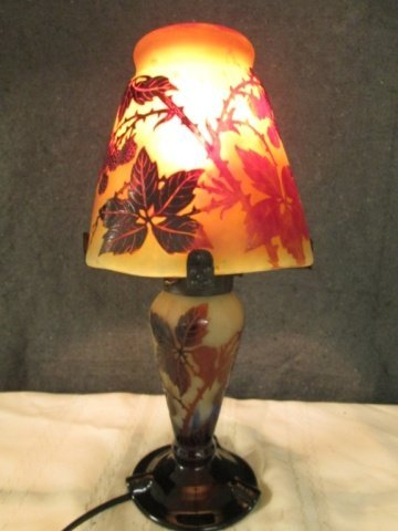 """AFTER GALLE FRENCH SIGNED CAMEO GLASS 14.5"""" LAMP"""