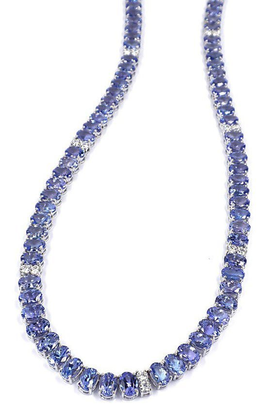 14K Necklace 2.01ct Diamond 94.80ct Tanzanite