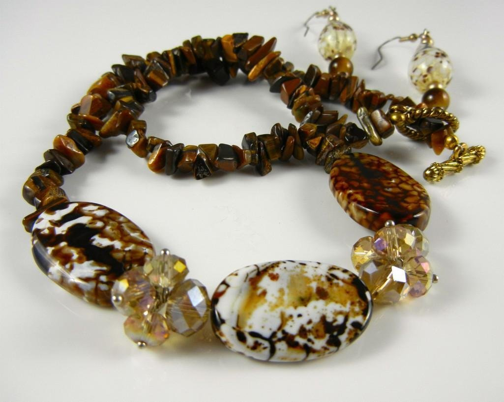 Tiger eye hand blown glass set