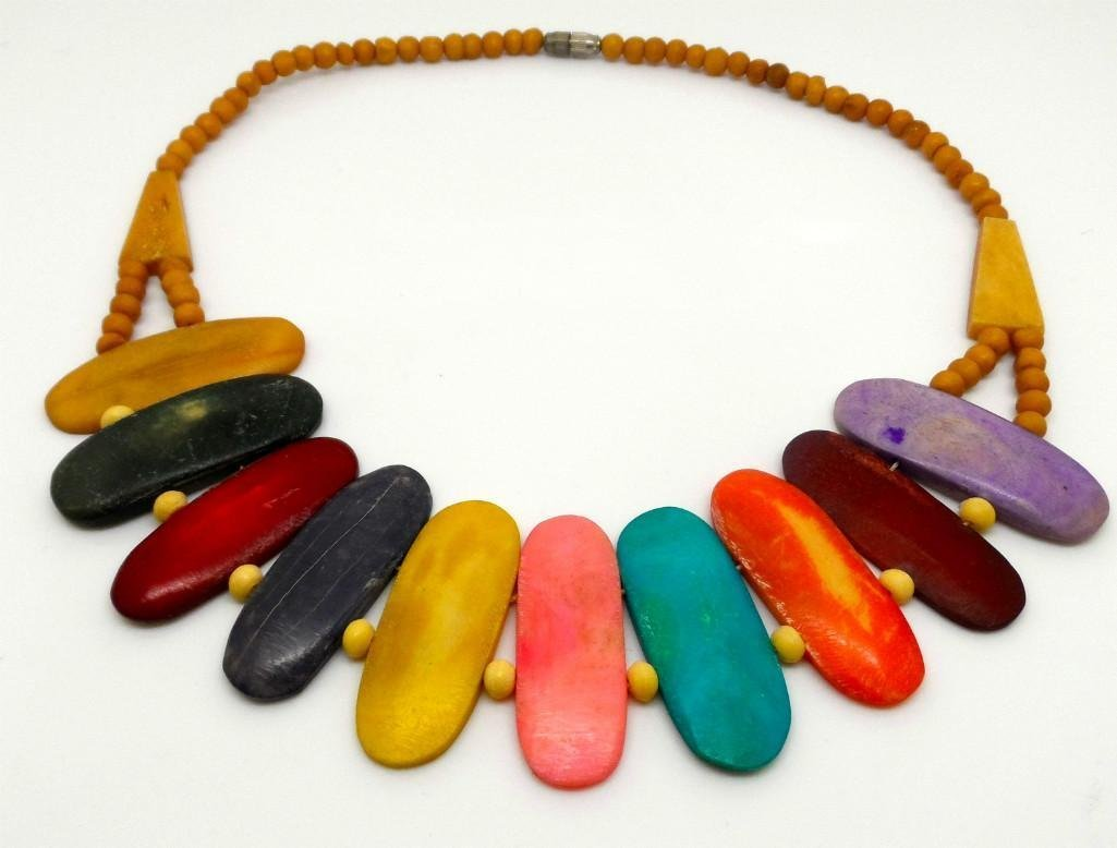 Hand Painted Wood Necklace