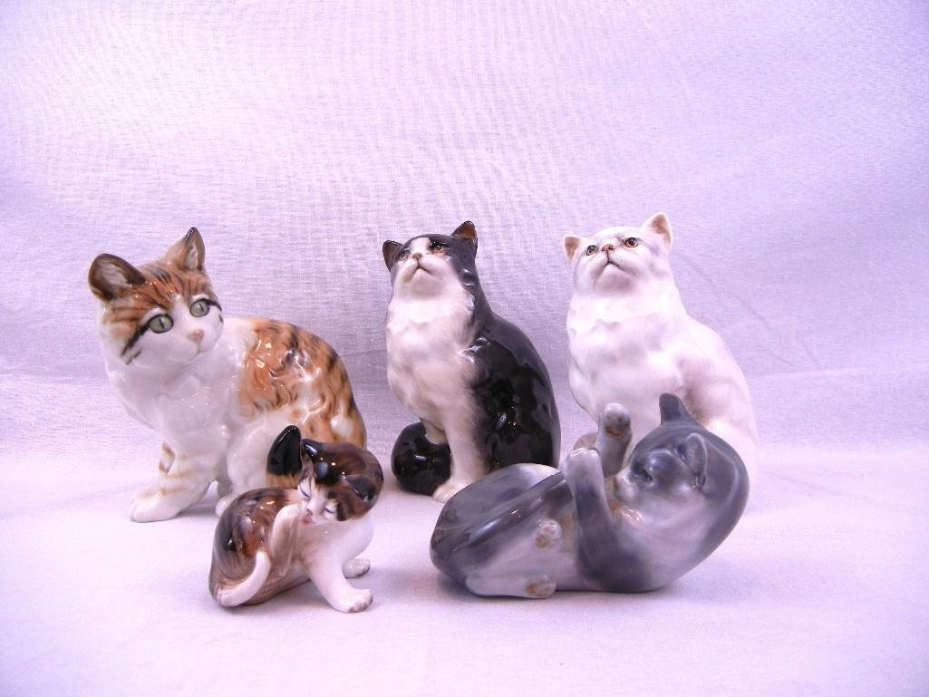 ROYAL DOULTON AND COPENHAGEN CAT FIGURINES 5