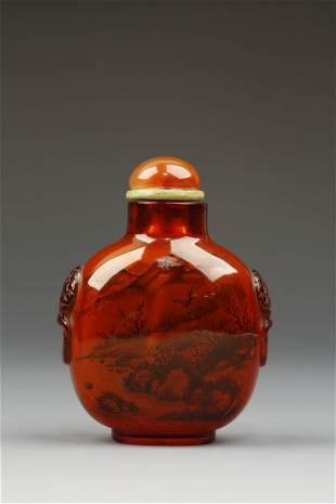 AN AMBER INSIDE-PAINTED SNUFF BOTTLE by Ye Xiaosan, of