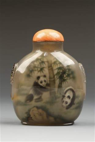 AN INSIDE-PAINTED CHALCEDONY SNUFF BOTTLE by Ye Shuying