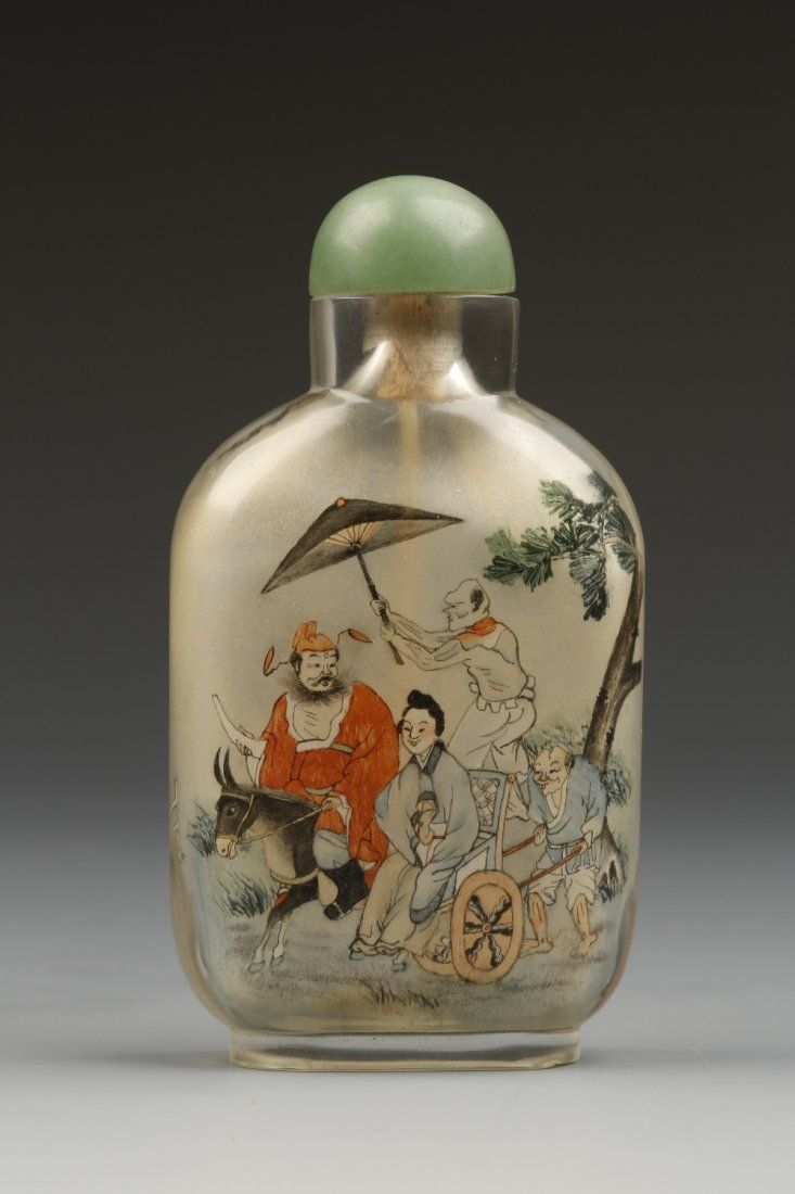 AN INSIDE-PAINTED GLASS SNUFF BOTTLE of rounded rectang