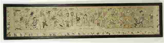 A SILK AND GOLD THREAD EMBROIDERED PROCESSION PANEL sho