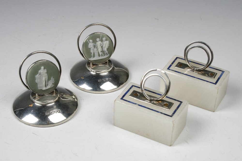 A PAIR OF EDWARDIAN MENU CARD HOLDERS with wire-work ba