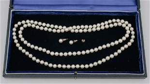 AN AKOYA CULTURED PEARL NECKLACE, each round cultured p