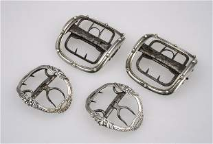 A PAIR OF GEORGE III SILVER SHOE BUCKLES, each with bea