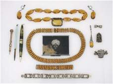 A FRENCH ART DECO ORANGE PASTE-SET COLLAR NECKLACE AND