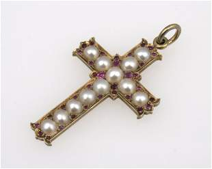 A 19TH CENTURY CROSS PENDANT set overall with pearls in