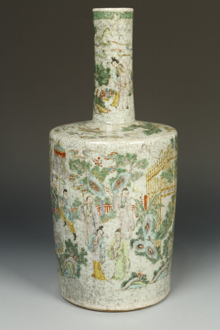 A LARGE MALLET-FORM VASE enamelled in polychrome with f