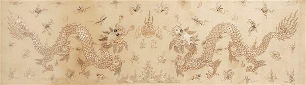 A SILK AND GOLD-THREAD EMBROIDERED PANEL depicting two