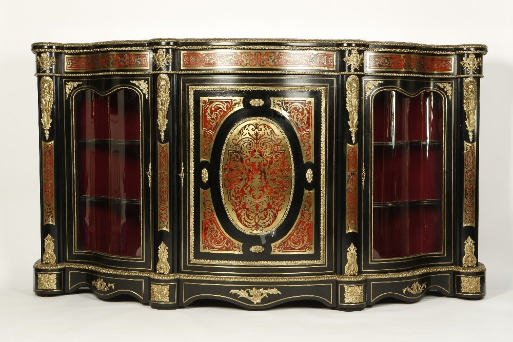 A 19TH CENTURY BOULLE-WORK CREDENZA, the shaped top wit