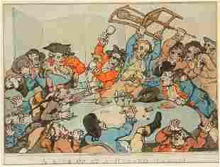 """AFTER THOMAS ROWLANDSON (1756-1827) """"A Kick-Up at a Haz"""