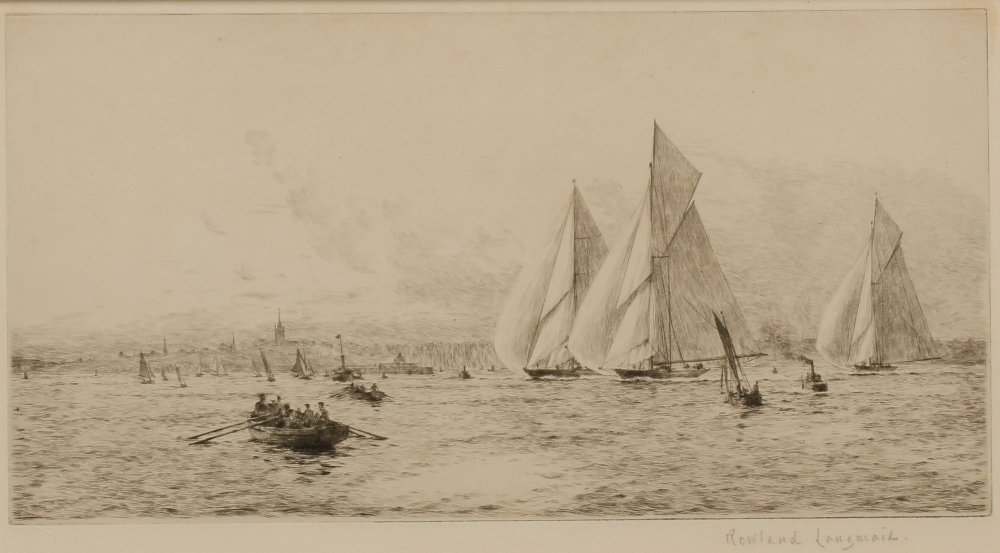 "ROWLAND LANGMAID (1897-1956) ""Off Ryde"", signed in penc"