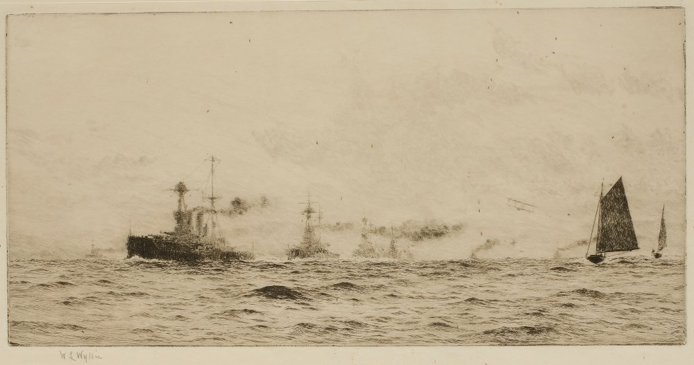 WILLIAM LIONEL WYLLIE (1851-1931) Battleships at sea wi