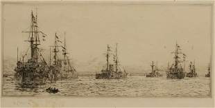 WILLIAM LIONEL WYLLIE (1851-1931) Battleships on a calm