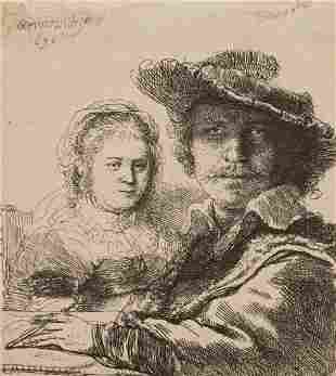 "REMBRANDT VAN RIJN (1606-1669) ""Rembrandt and his wife"