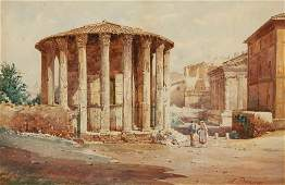 S. DONADOM Study of Italian ruins with figures in the f