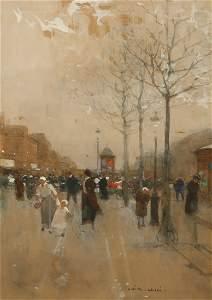 LUIGI LOIR (1845-1916) A Parisian street scene with wom