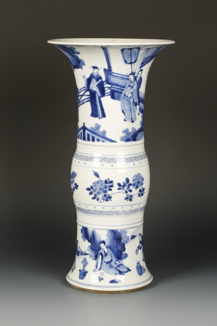 A LARGE BLUE AND WHITE GU VASE decorated with