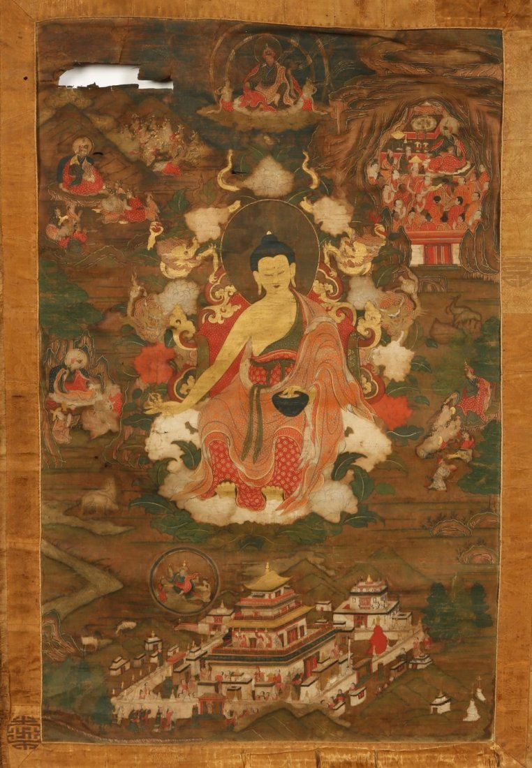 A TIBETAN THANKA, the Buddha within a landscape