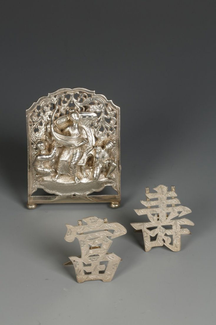A PAIR OF CHINESE MENU CARD HOLDERS in the form of