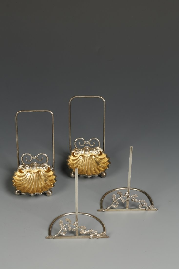 A PAIR OF LATE VICTORIAN MENU CARD HOLDERS/SALTS