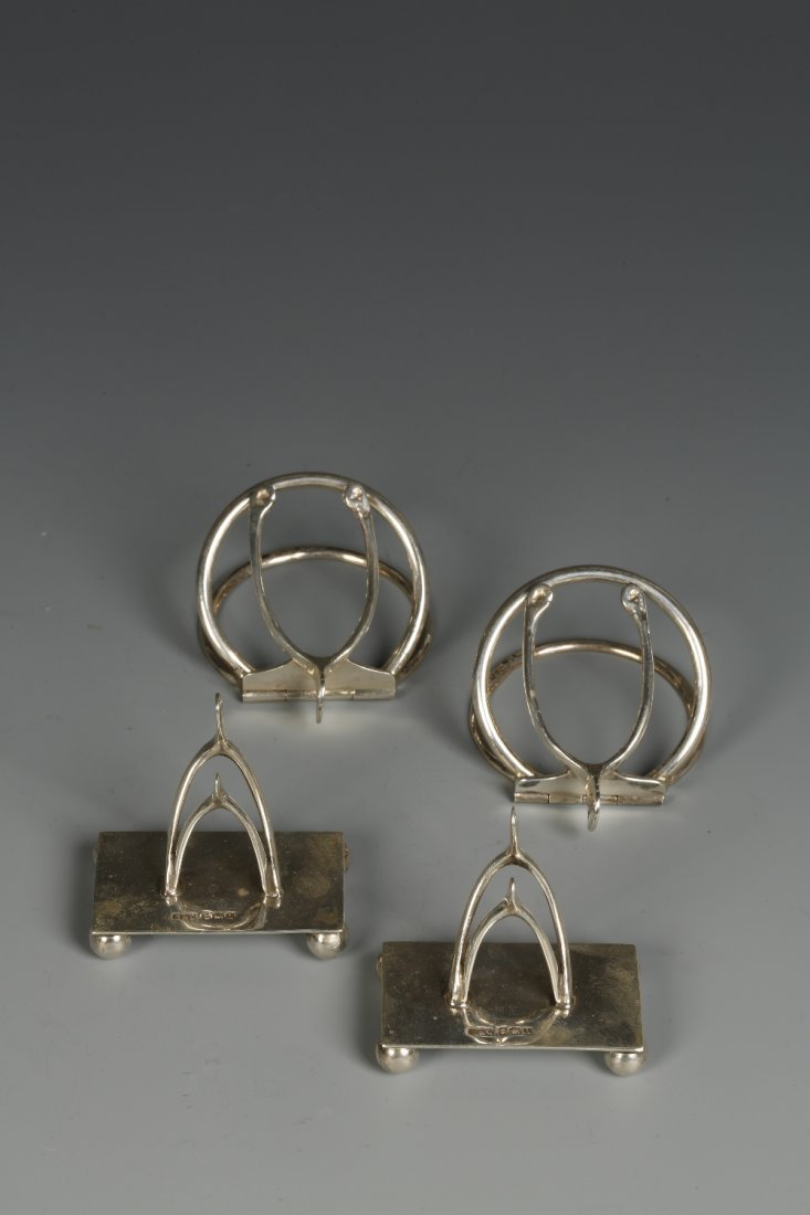 A PAIR OF MENU CARD HOLDERS modelled in the form of