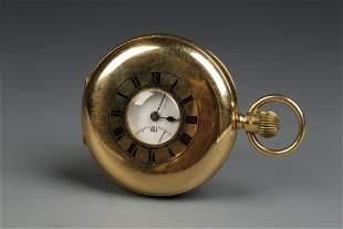 A GENTLEMAN'S 18CT YELLOW GOLD HALF HUNTING CASED