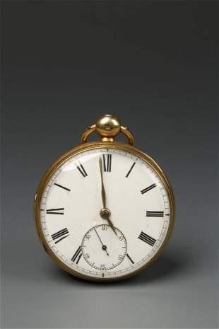 A GENTLEMAN'S 18CT YELLOW GOLD OPEN FACED POCKET WATCH,