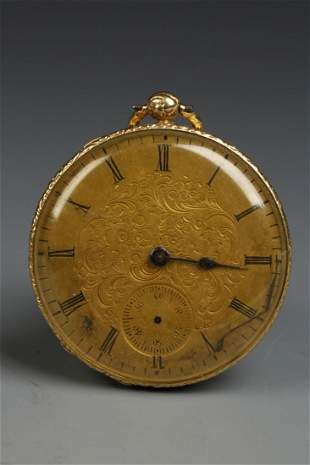 A LADIES 18K YELLOW GOLD CONTINENTAL OPEN FACED POCKET