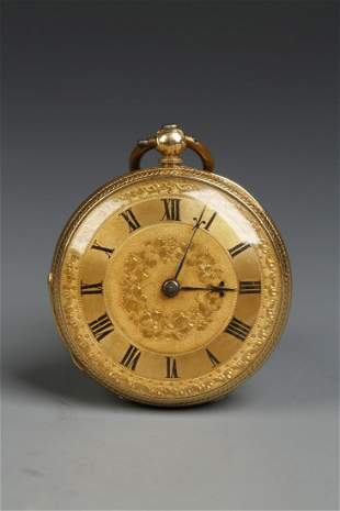 A LADIES 18CT YELLOW GOLD OPEN FACED POCKET WATCH, the