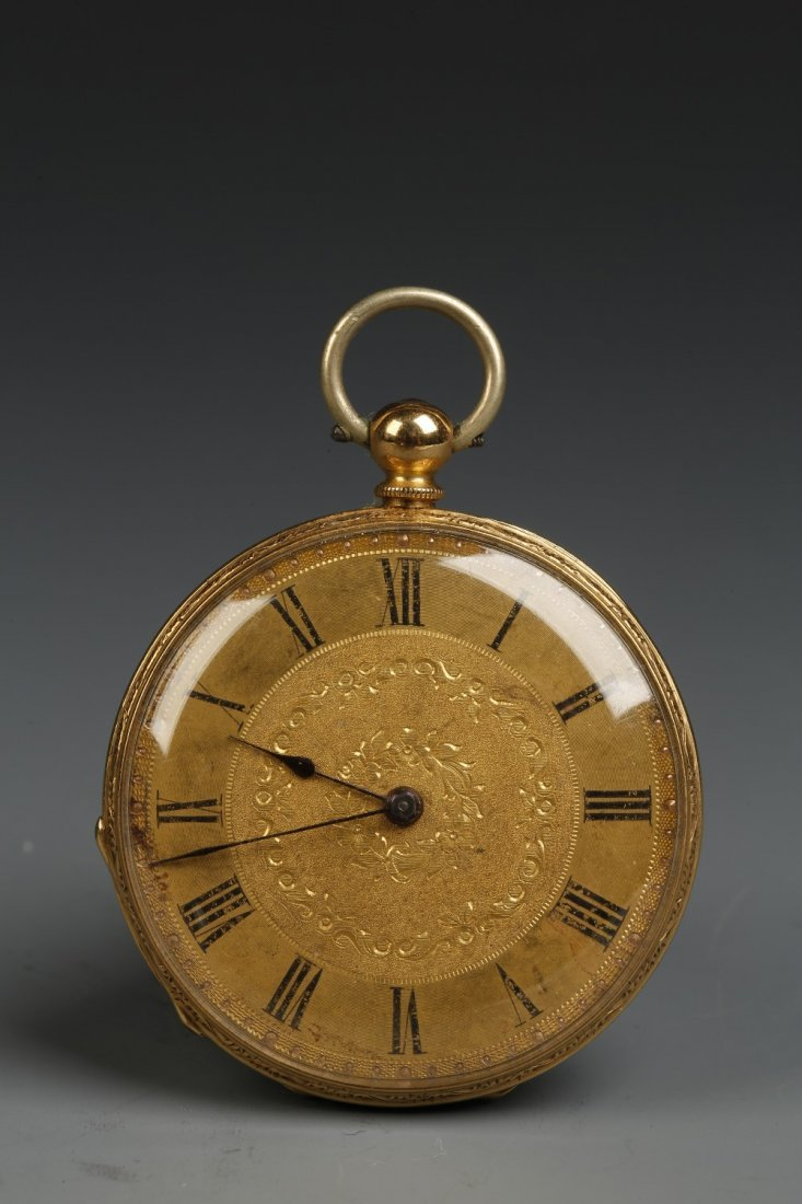 A LADIES 18K YELLOW GOLD OPEN FACED POCKET WATCH, the