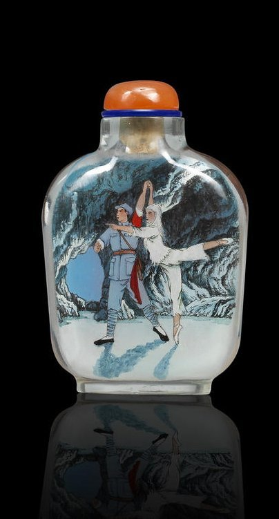 An inside-painted 'The White Hair Girl' snuff bottle