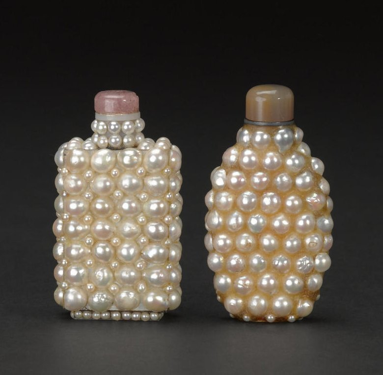 A Pair of Rare Qing Dynasty Pearl Snuff Bottles
