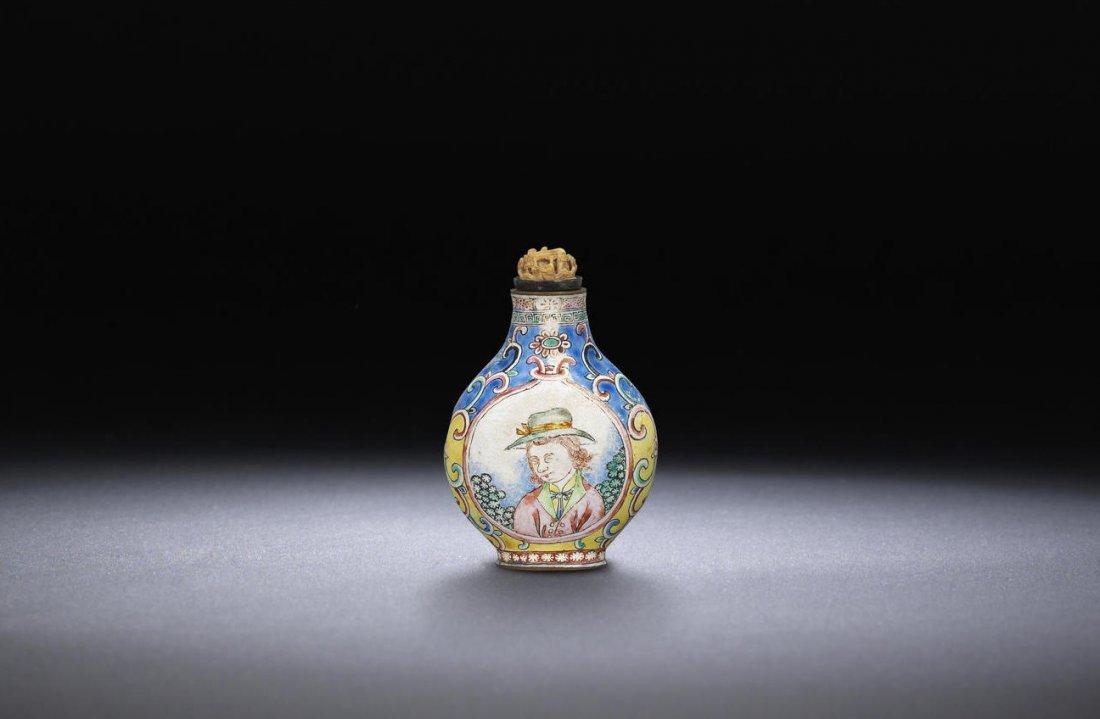 An enamel on copper 'European subject' snuff bottle