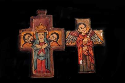 A Very Fine Old Pair of Orthodox Painted Crosses