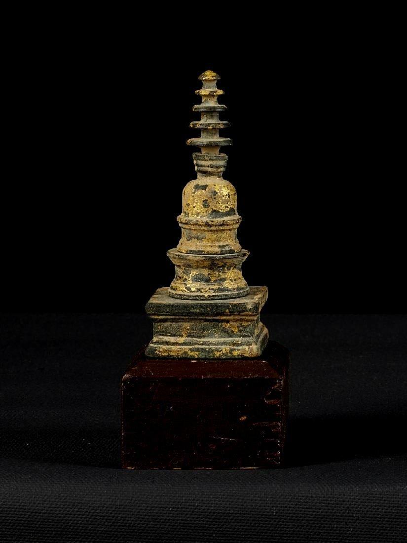 A Nice Miniture Gandharan Gilded Schist Stupa Reliquary