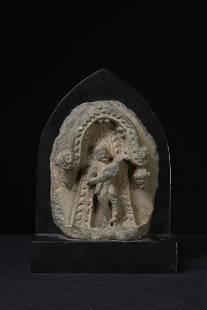 A Nice Gandharan Gable Shape Schist Fragment