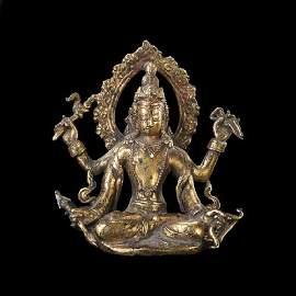 Gilt Bronze Figure of seated 4 Armed Avalokiteshvara