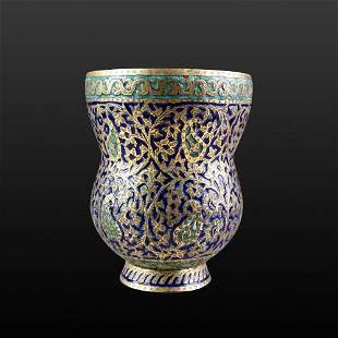 Mughal Copper Cup With Enamel Work