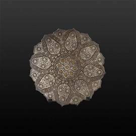 A Nice Mughal Copper Decorative Plate
