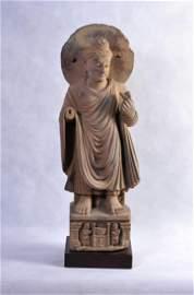 A LARGE GANDHARAN SCHIST SCULPTURE OF BUDDHA