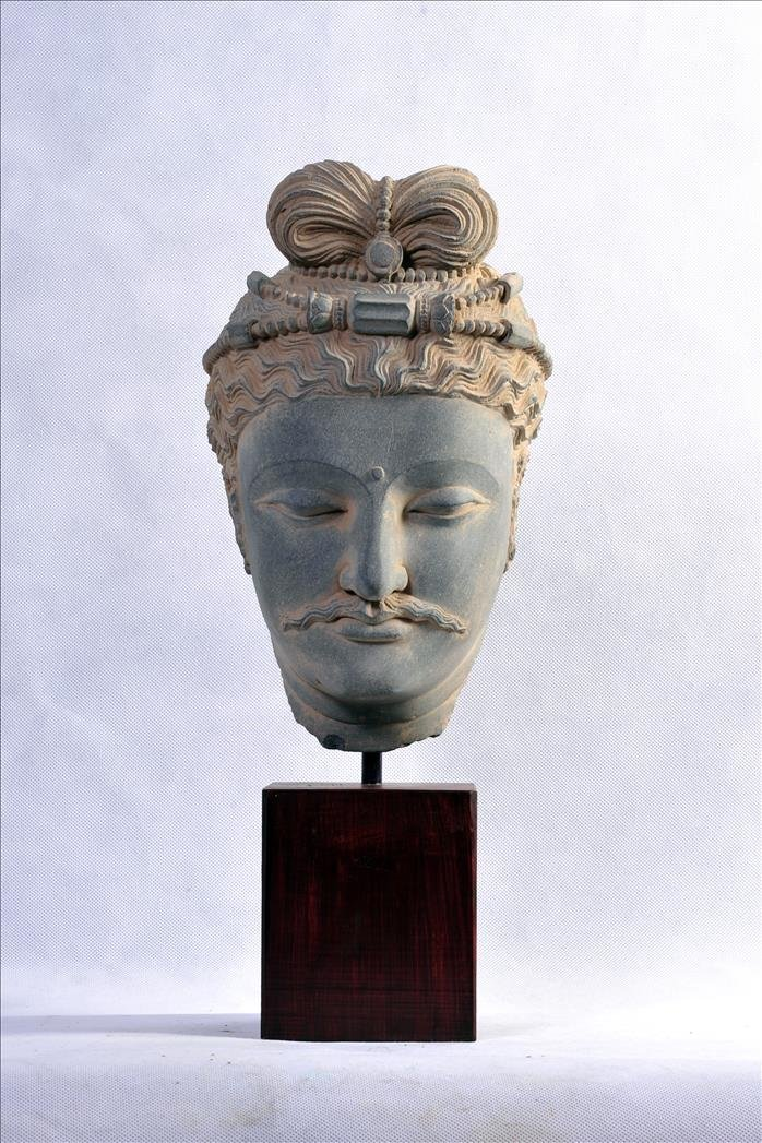 A NICE GANDHARAN SCHIST BODHISATTVA HEAD PRINCE SIDDHAR