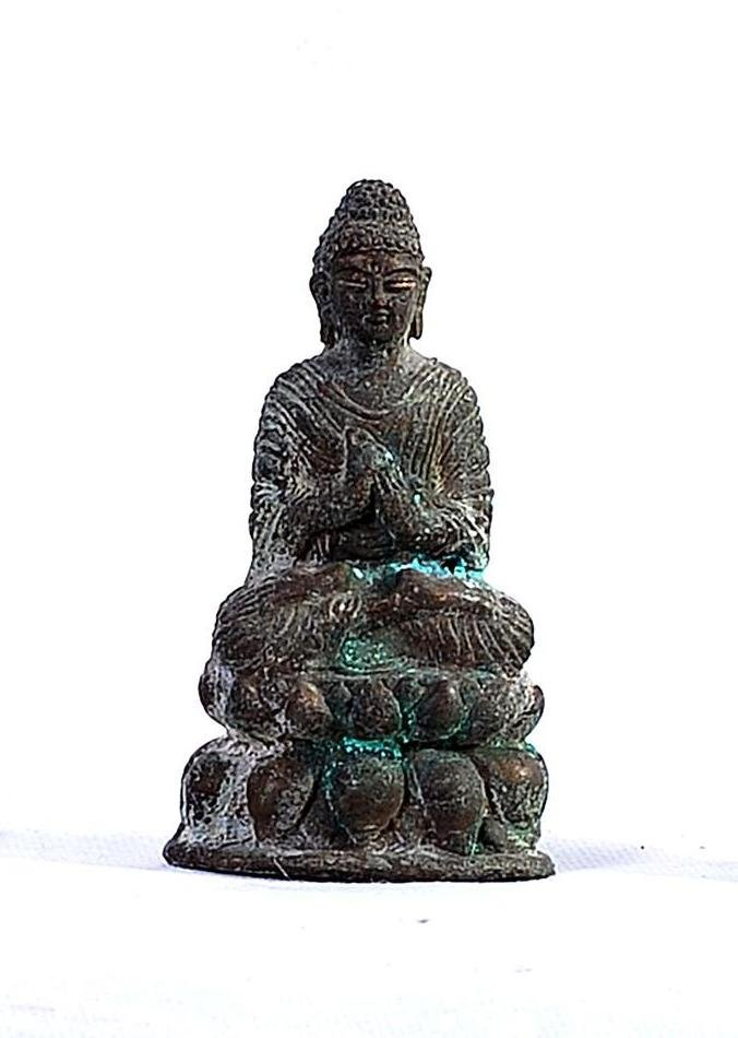 A VERY NICE TIBETAN BRONZE SEATED BUDDHA SHAKYAMUNI ON